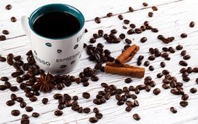 Картинка Кофе, напиток, корица, кофейные зерна
