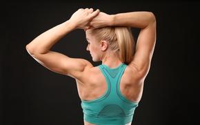 Картинка blonde, back, female, fitness, Body toned