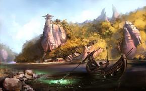 Картинка скала, люди, лодка, постройки, Fishermen
