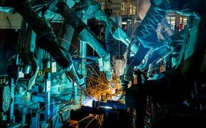 Картинка sparks, industry, welders, Robotics