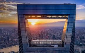 Картинка закат, дома, панорама, Китай, Шанхай, Шанхайский всемирный финансовый центр