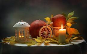 Картинка осень, листья, свеча, фонарик, тыква, натюрморт