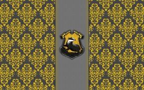 Картинка барсук, Хогвартс, Harry Potter, узор, Пуффендуй, Hufflepuff, deviantart wallpapers, badget, by theladyavatar, Hogwarts House