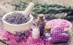 Картинка heart, pink, лаванда, lavender, соль, spa, oil