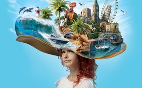 Картинка девушка, путешествия, фон, шляпа, Sofian Moumene