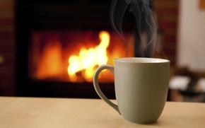 Картинка тепло, огонь, кофе, горячий, кружка, чашка, камин