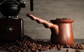 Картинка кофе, background, coffee, турка, кофемолка, керамическая турка, кофе в зернах