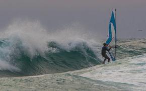 Обои море, волны, ветер, парус, доска, виндсёрфинг