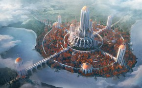 Обои мост, город, симметрия, magic city, Safe haven