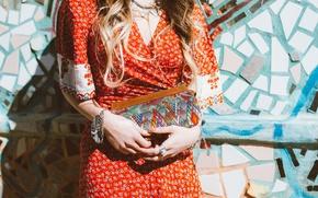 Картинка девушка, кольца, платье, сумка, ярко, браслеты