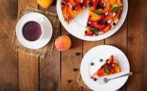 Картинка ягоды, чай, сладость, фрукты, выпечка, фруктовый пирог