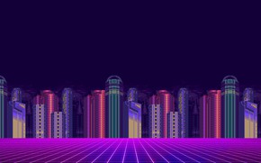 Картинка Минимализм, Город, Фон, Пиксели, 8bit, Electronic, 8бит, 8 bit, bit, Synth, Retrowave, Синти, Synthwave, Synth ...