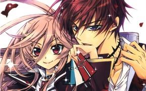 Картинка карты, взгляд, руки, воротник, двое, art, розовые волосы, большие глаза, aya shouoto, kaede higa, kiss ...