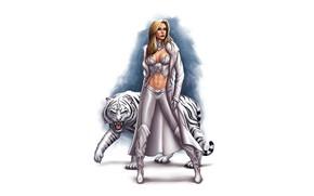 Картинка девушка, тигр, белый тигр