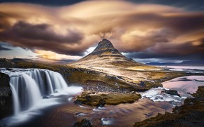 Картинка тучи, природа, гора, водопад, Исландия, Киркьюфетль