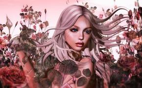 Обои волосы, лицо, лето, природа, девушка, рендеринг