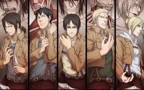 Картинка аниме, арт, Shingeki no Kyojin, титаны, Атака титанов, Вторжение гигантов