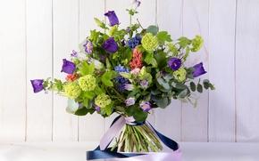 Картинка цветы, букет, лента, колокольчики