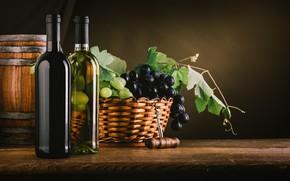 Обои виноград, корзина, полумрак, листья, штопор, вино, бочонок, бутылки