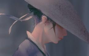 Картинка девушка, ленты, профиль, шляпка