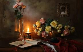 Картинка ноты, перо, скрипка, бокал, свеча, картина, натюрморт, чернильница