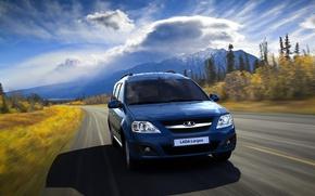Картинка дорога, лес, облака, синий, скорость, Lada Largus