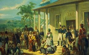 Обои масло, картина, холст, Принц Дипонегоро Захвачен Лейтенант-генералом, Николас Пинеман