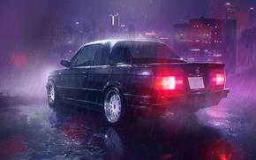 Картинка Черный, Ночь, Город, BMW, Дождь, БМВ, E30, Ливень, Е30, BMW E30