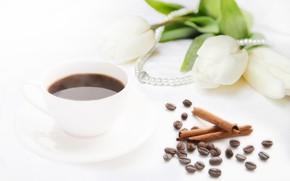Картинка кофе, букет, тюльпаны, бусы, белые