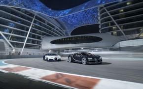 Картинка Bugatti, Black, White, Abu Dhabi, UAE, VAG, Yas Marina Circuit, Chiron, F1 Track