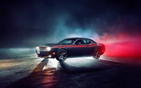Картинка свет, туман, фары, Додж, колеса, Dodge, challenger, Челленджер