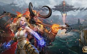 Картинка девушка, демон, рога, боги, MMORPG, божества, skyforge