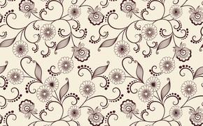 Обои листики, цветы, вектор, текстура, фон, узор