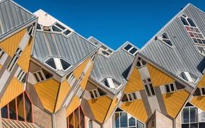 Картинка город, Нидерланды, архитектура, Голландия, Роттердам, Rotterdam, Cube Houses