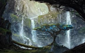Картинка деревья, огни, скалы, арт, водопады