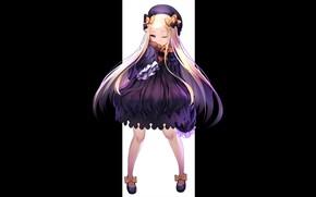 Картинка аниме, девочка, чёрный фон, Fate / Grand Order