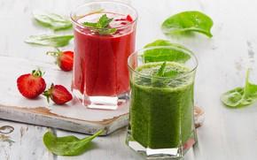 Обои шпинат, клубника, сок, овощи, фреш, ягода