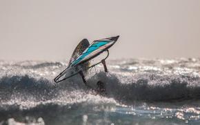 Обои парус, ветер, доска, волны, виндсёрфинг, море