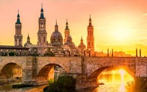 Картинка солнце, мост, река, собор, Испания, Сарагоса