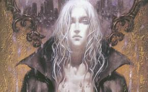 Картинка воротник, вампир, art, castlevania, ayami kojima, длинные белые волосы, joachim armster