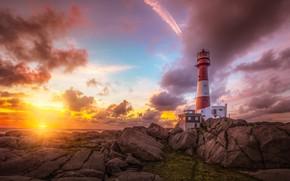 Картинка море, небо, солнце, облака, камни, рассвет, побережье, маяк, горизонт, Норвегия, Rogaland, Nymark