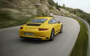 Картинка дорога, жёлтый, движение, размытие, Porsche, ограждение, 2018, 911 Carrera T, 370 л.с.
