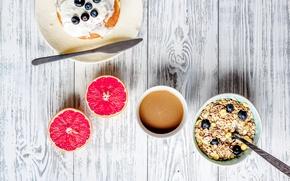 Картинка ягоды, завтрак, черника, мед, блины, wood, грейпфрут, breakfast, мюсли