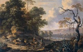 Картинка масло, картина, холст, Ян Вейнантс, Пейзаж с Всадником на Осле