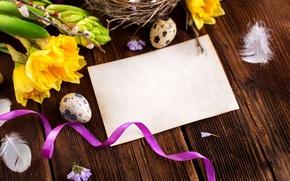 Картинка цветы, перья, Пасха, гнездо, happy, flowers, spring, Easter, eggs, decoration