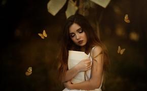 Картинка девушка, фон, книга