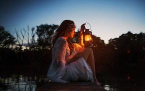 Обои dark, girl, twilight, long hair, legs, sunset, eyes, photographer, barefoot, lake, evening, model, mood, bokeh, ...