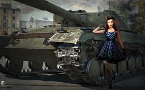 Картинка девушка, рисунок, арт, танк, советский, средний, World of Tanks, Объект 430, Nikita Bolyakov