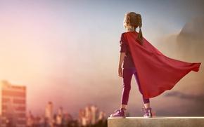 Картинка city, girl, cosplay, hero, kid, DC Comics, Supergirl, yuusha, super hero, cape, Kara Zor-El