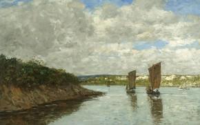 Картинка пейзаж, картина, Эжен Буден, Eugene Boudin, Бретань. Парусные Лодки в Заливе